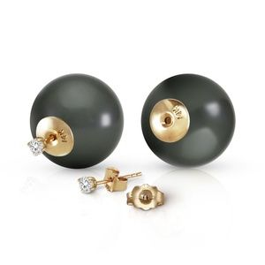 NATURAL DIAMOND EARRINGS WITH BLACK SHELL PEARLS